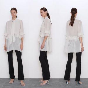 ZARA   sheer blouse with neck tie